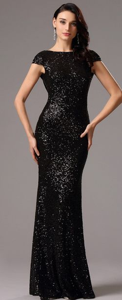 c473790528c4 Sequin Black Formal Dress Bridesmaid Dress with Cowl Back (07160300 ...