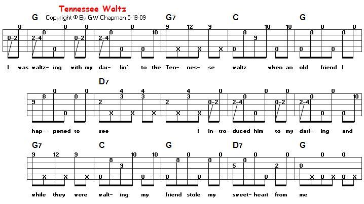 Tennessee Waltz In G Banjo Bluegrass Music And Tablature