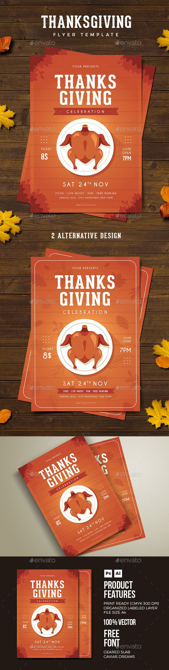 Thanksgiving Flyer Pinterest Ai Illustrator Flyer Template And