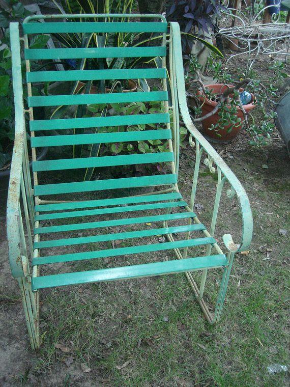 Antique metal outdoor furniture / vintage metal patio chair/ outdoor ...