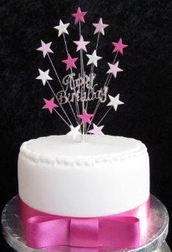 Diamante Happy Birthday Cake Topper Pinks And White Stars Suitable For A Small Or Cupcake