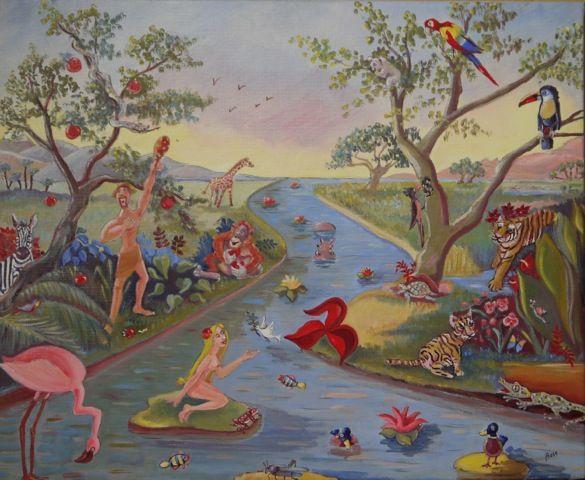 Adam et Eve au jardin d'Eden | Tableau, Adam et eve et Artiste peintre
