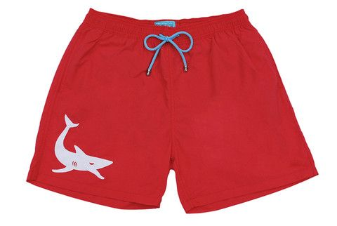 Mens swimwear red white shark trunks boardshorts boardies Scaphandre diving étoile de mer gris requin coral cool