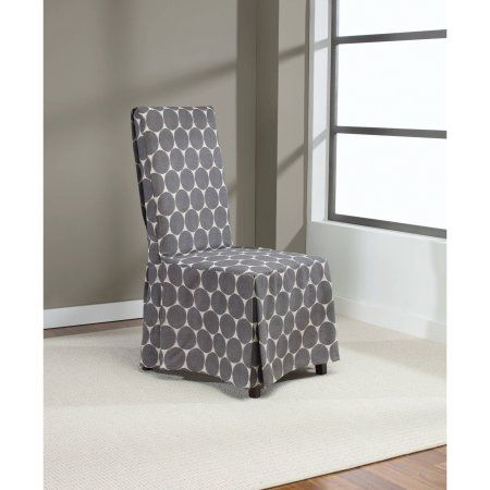 Sure Fit Ikat Dot Dining Room Chair Cover Smoke Gray  Walmart Prepossessing Grey Dining Room Chair Covers Inspiration