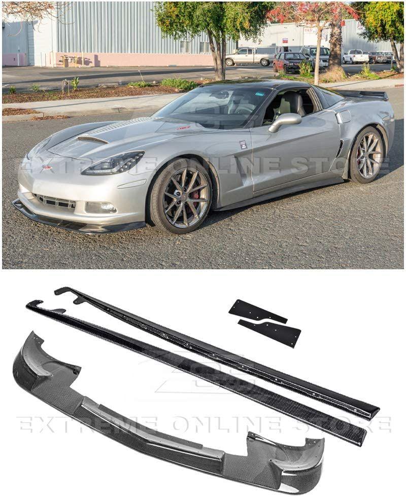 For 05 13 Corvette C6 Base Zr1 Extended Carbon Fiber Front Lip Side Skirts In 2020 Chevrolet Corvette Corvette Carbon Fiber