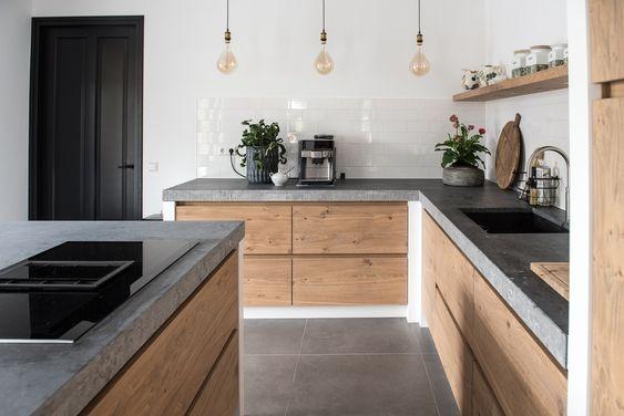 Holz Grau Wohnung Kuche Haus Kuchen Innenarchitektur Kuche