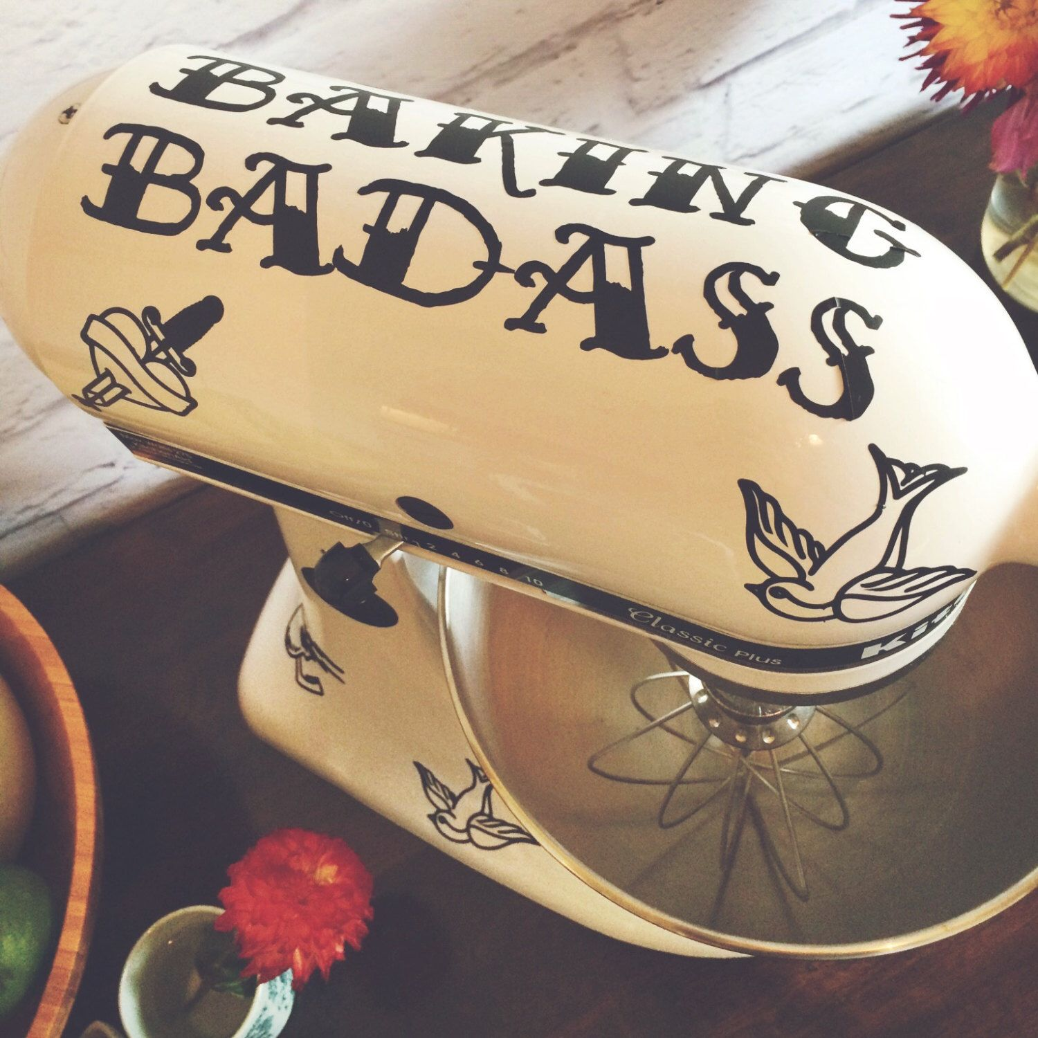 Baking Badass: Tough and Pretty Tattoo Pattern Kitchenaid Mixer Decal Set door iinky op Etsy https://www.etsy.com/nl/listing/242316965/baking-badass-tough-and-pretty-tattoo