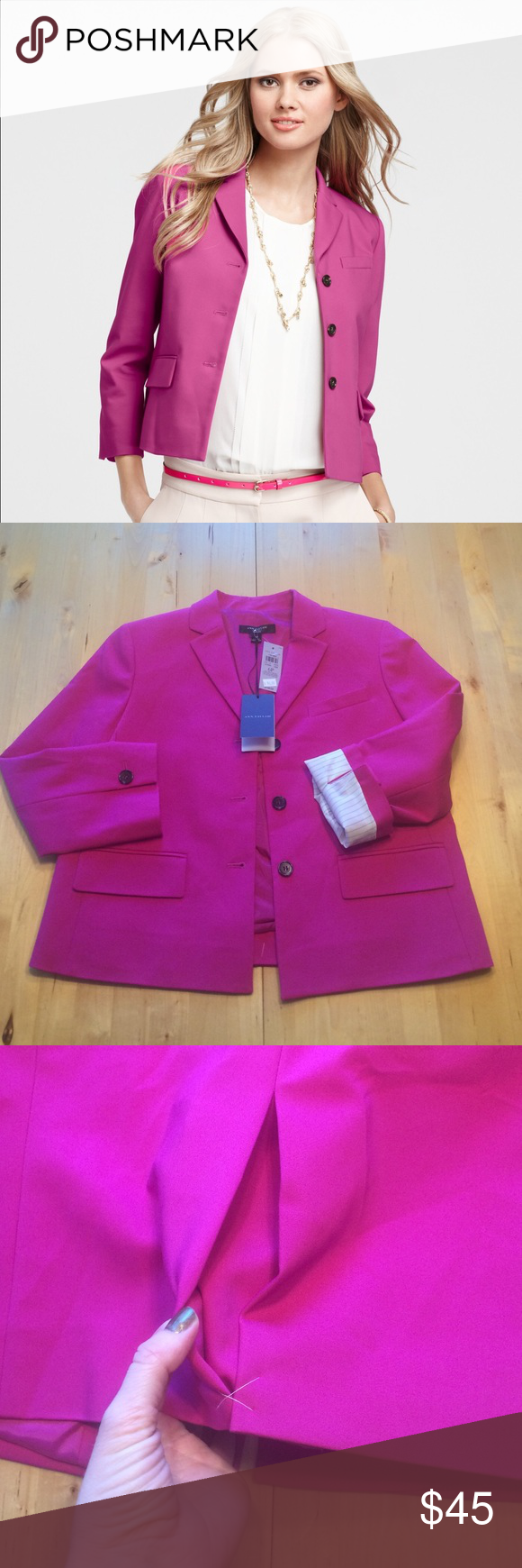 """Ann Taylor Blazer NWT Ann Taylor Petite compact doubleweave blazer in pink. Versatile fabric that stretches where you need it but also drapes beautifully. Size 6P. Measures 19"""" across bust. 20"""" from shoulder seam to hem. Arm length is 19"""". Back pleat vent has not been opened yet. Color is most accurate in photos 2-4. Classic striped lining on sleeves so it looks cute cuffed too. Ann Taylor Jackets & Coats Blazers"""