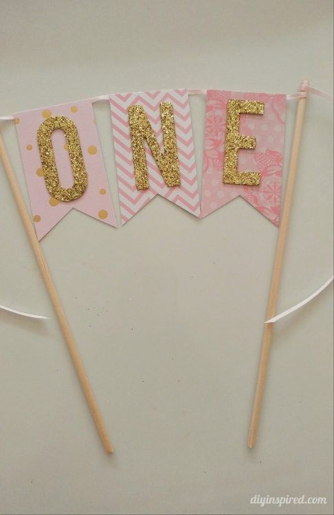 DIY First Birthday Pink And Gold Glitter Cake Topper