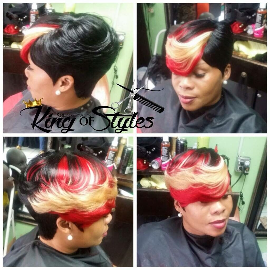 Red #Blonde #Black #SideBangs #ShortHairStyles  12 piece