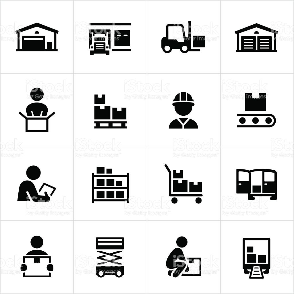 Black Warehouse And Distribution Icons Warehouse Storage