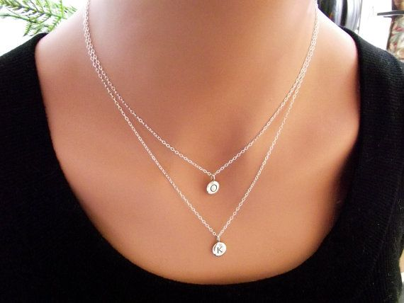 Double letter and double chain necklace initial necklace double letter and double chain necklace initial necklace personalized necklace name sterling aloadofball Gallery