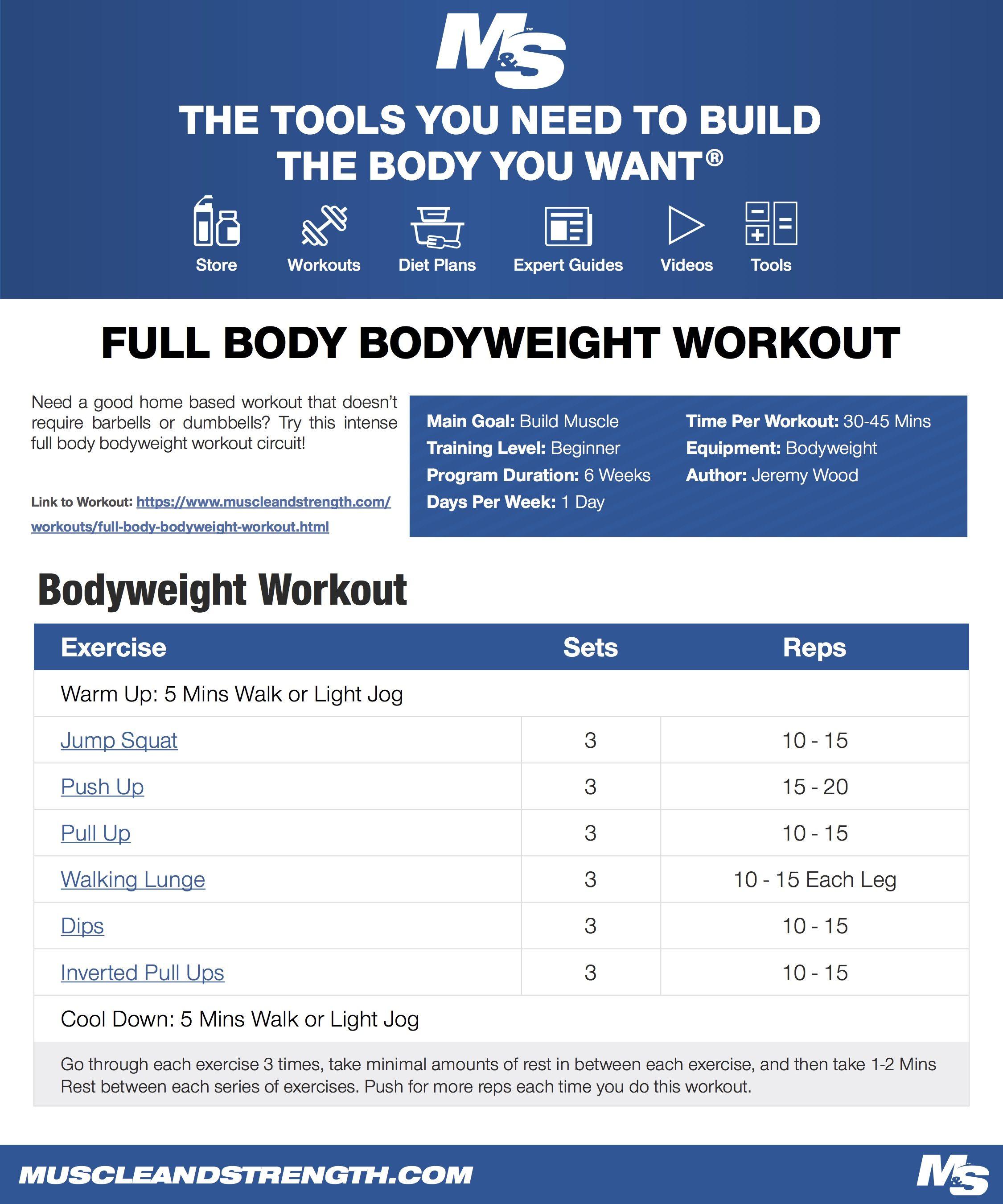 Full Body Bodyweight Workout Full Body Bodyweight Workout Bodyweight Workout Full Body Weight Workout