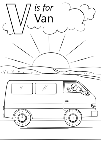 V Is For Van Coloring Page From Letter V Category Select From 26355 Printable Crafts Of Cartoons Abc Coloring Pages Preschool Coloring Pages Letter V Crafts