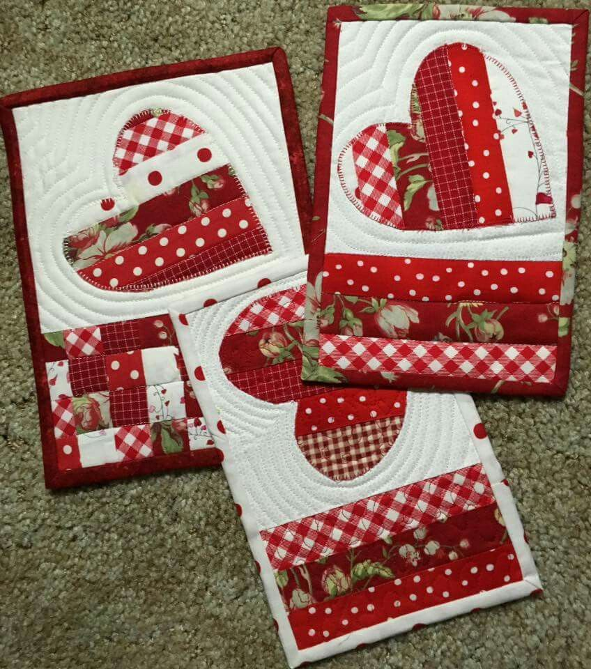 Pretty Red White Patchwork Heart Mug Rugs Table