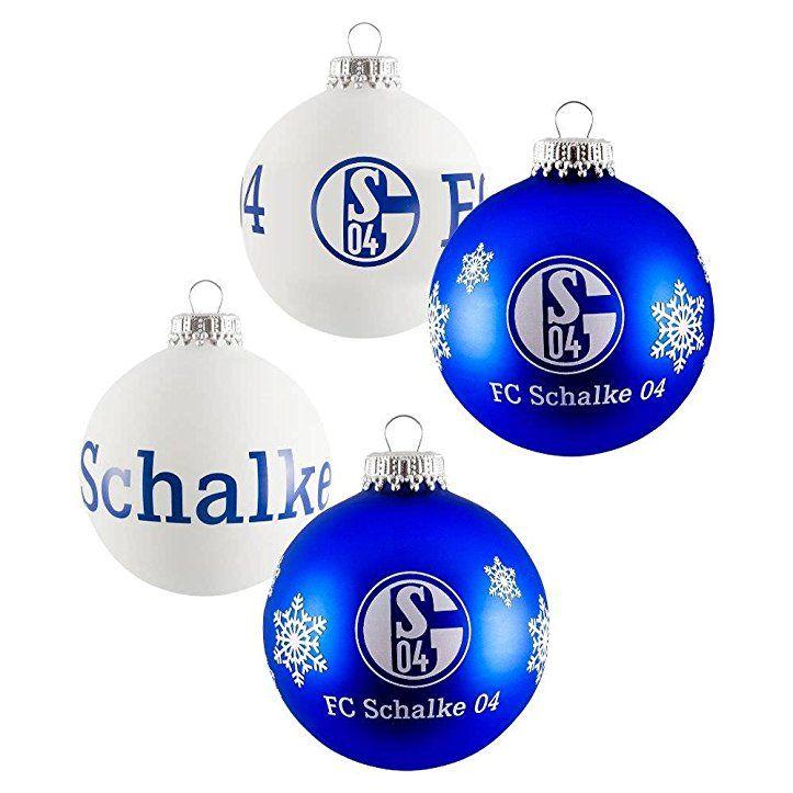 Schalke Bilder Weihnachten.Fc Schalke Weihnachtskugeln 4er Pack Blau Und Weiß Weihnachtsdeko