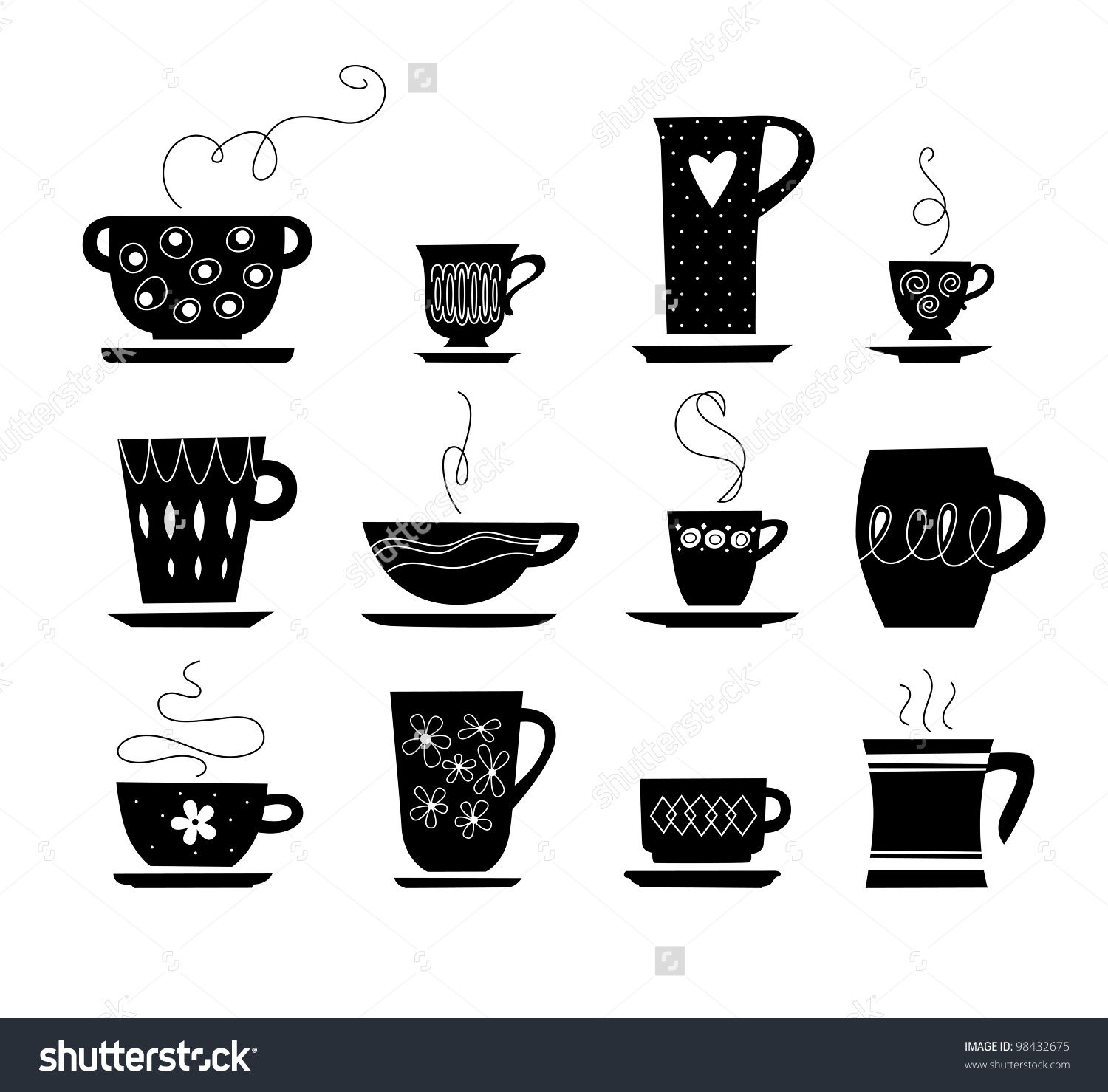 silhouette of cup of tea or coffee Tea cup drawing