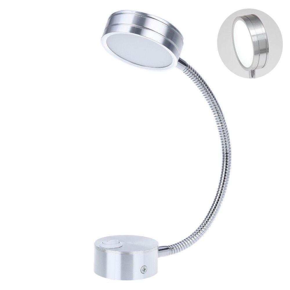 LED Silver Bedroom Bedside Lamp Reading Wall Lamps With Knob Switch 5W 90-260V Wall Light Direction Adjustable