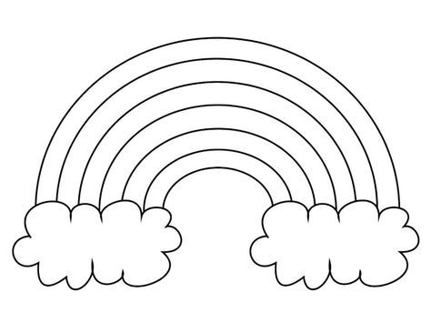 Extra Large Rainbow Template With Clouds Blank Ready To Color Rainbow Crafts Preschool Free Printable Coloring Pages Free Printable Coloring