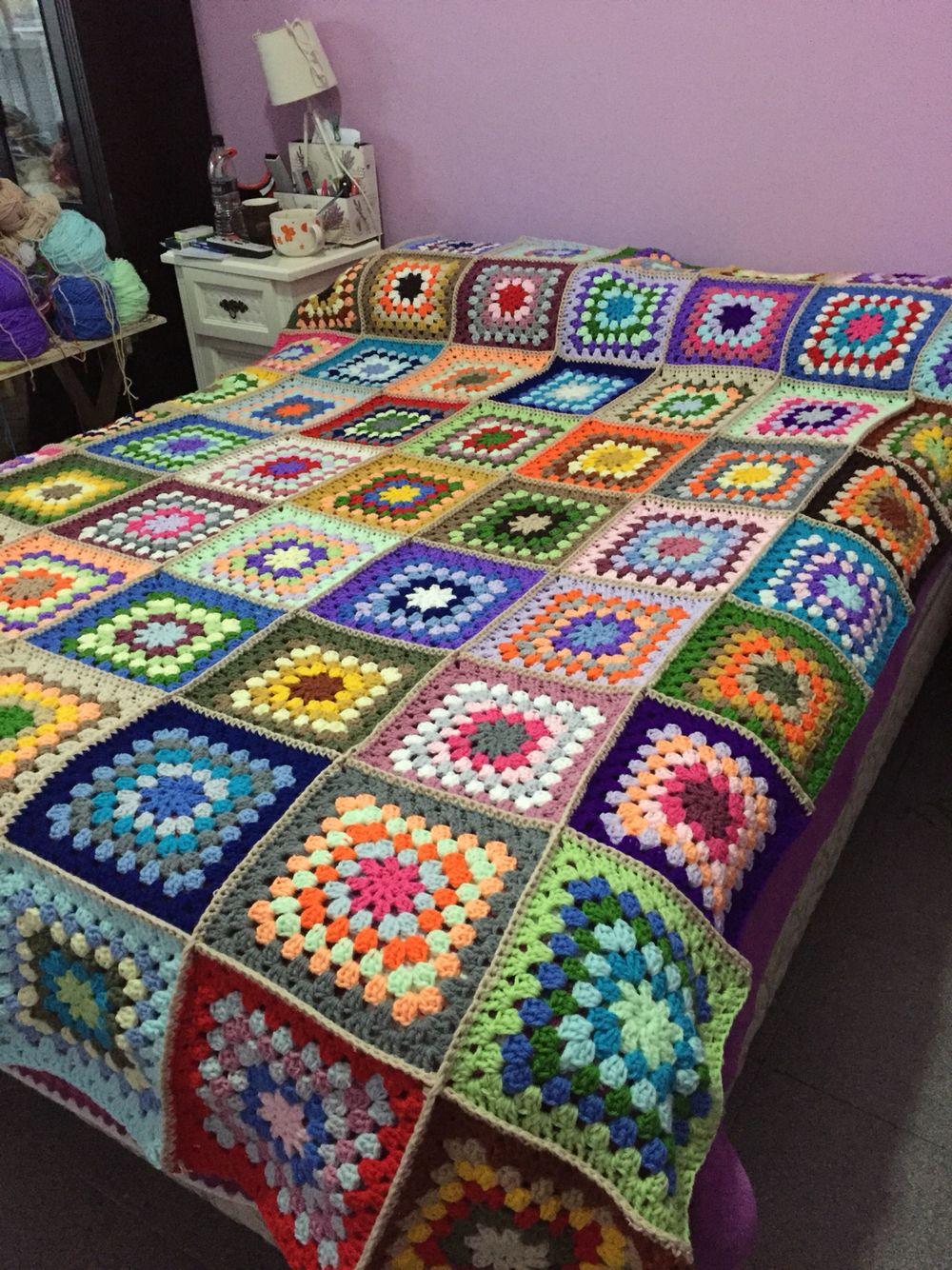 Manta crochet cuadrados mucho color tejidos - Mantas de ganchillo para sofas ...