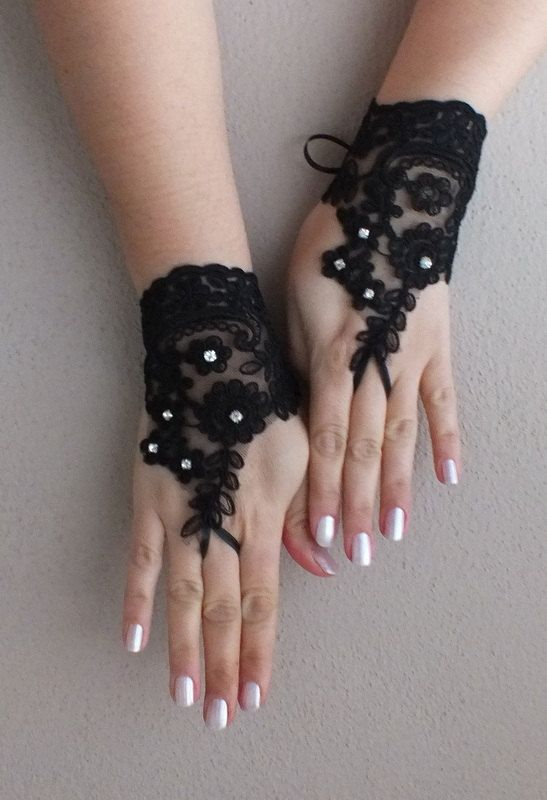 Black Wedding gloves french lace gloves bridal by WEDDINGGloves