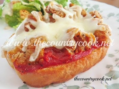 The Country Cook: Chicken Parmesan Pizzas -- could be a good lunch for the kiddos and me