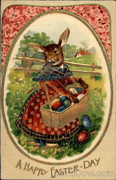 Metal Bunnies Eggs  Basket Spring Easter Greetings Post Card Sign
