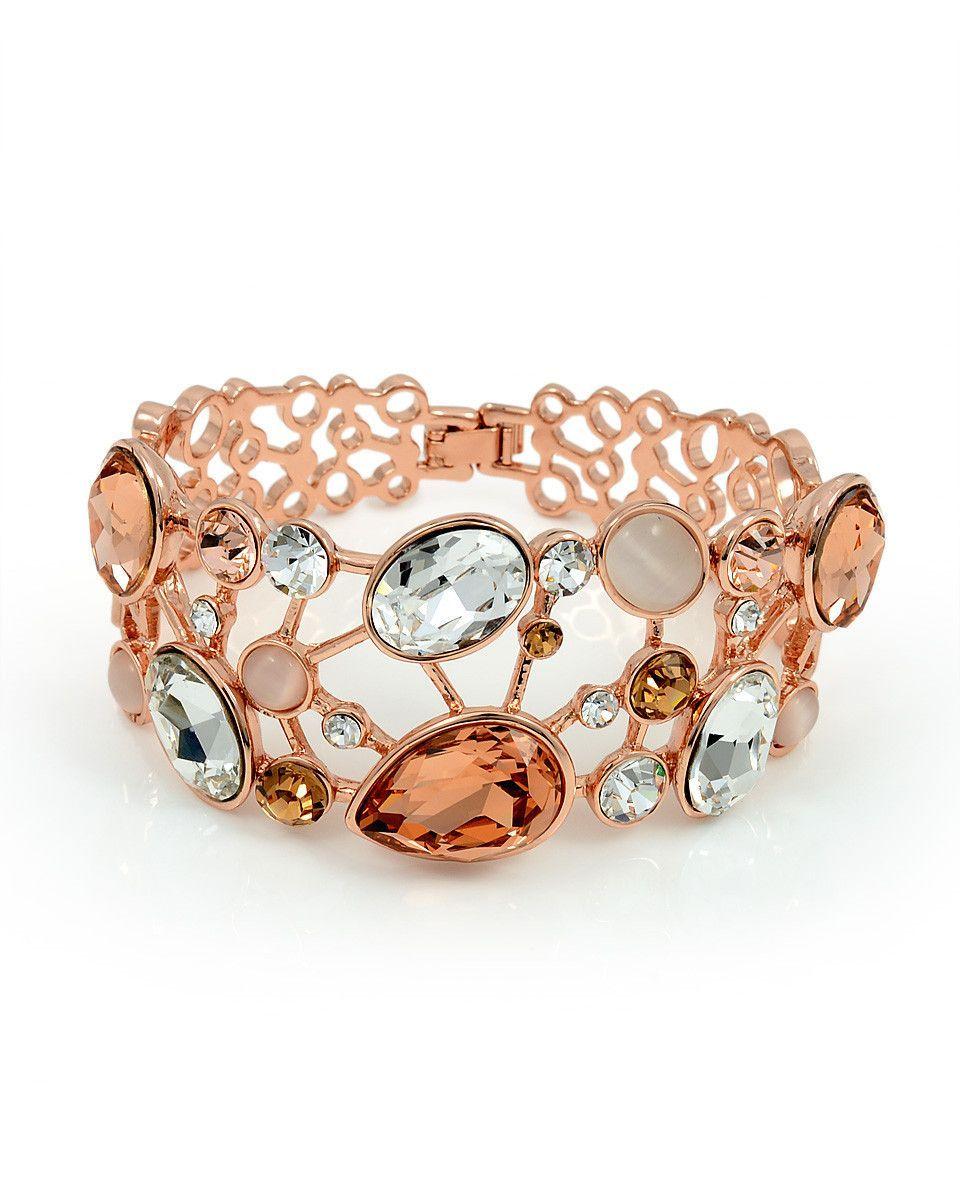 Swarovski elements k rose gold plated bangle bracelet bangle
