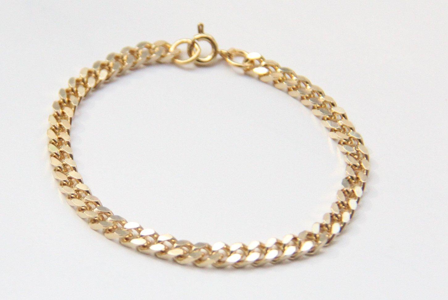 Mini gold chunky chain bracelet k gold plated via etsy