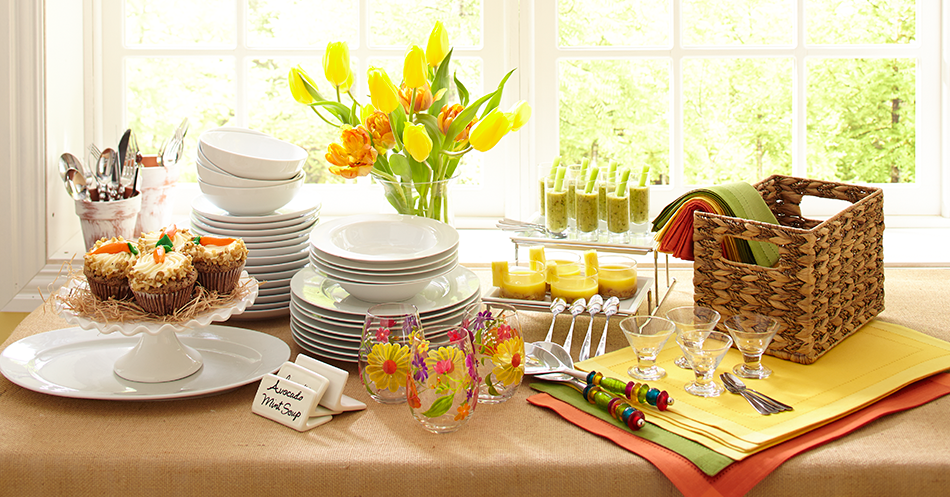 Set up an easter brunch buffet decorating ideas books for Easter dinner table decorating ideas