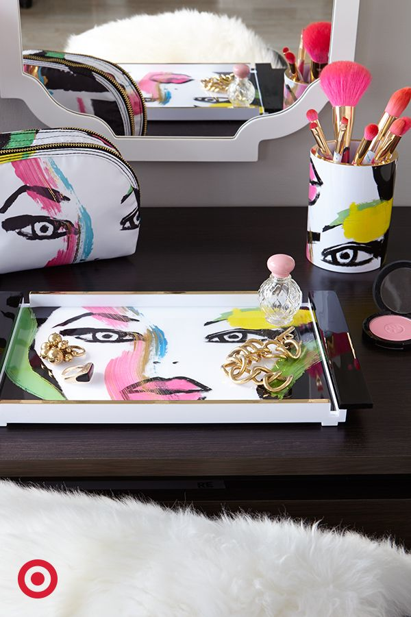 """The new collaboration between Sonia Kashuk + Linda Mason is literally a work of art. Created from one of Linda's paintings, Sonia celebrates her mentor in the """"Art of Beauty""""—a pop-art inspired collection of brushes, makeup bags, and more."""