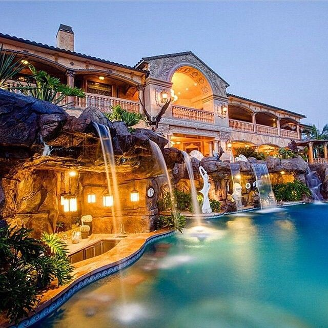 home sweet home stunning architecture and breath taking designs pools and gardens that look like youre in a 5 star resort which is the subject we shall - Cool Pools With Waterfalls In Houses