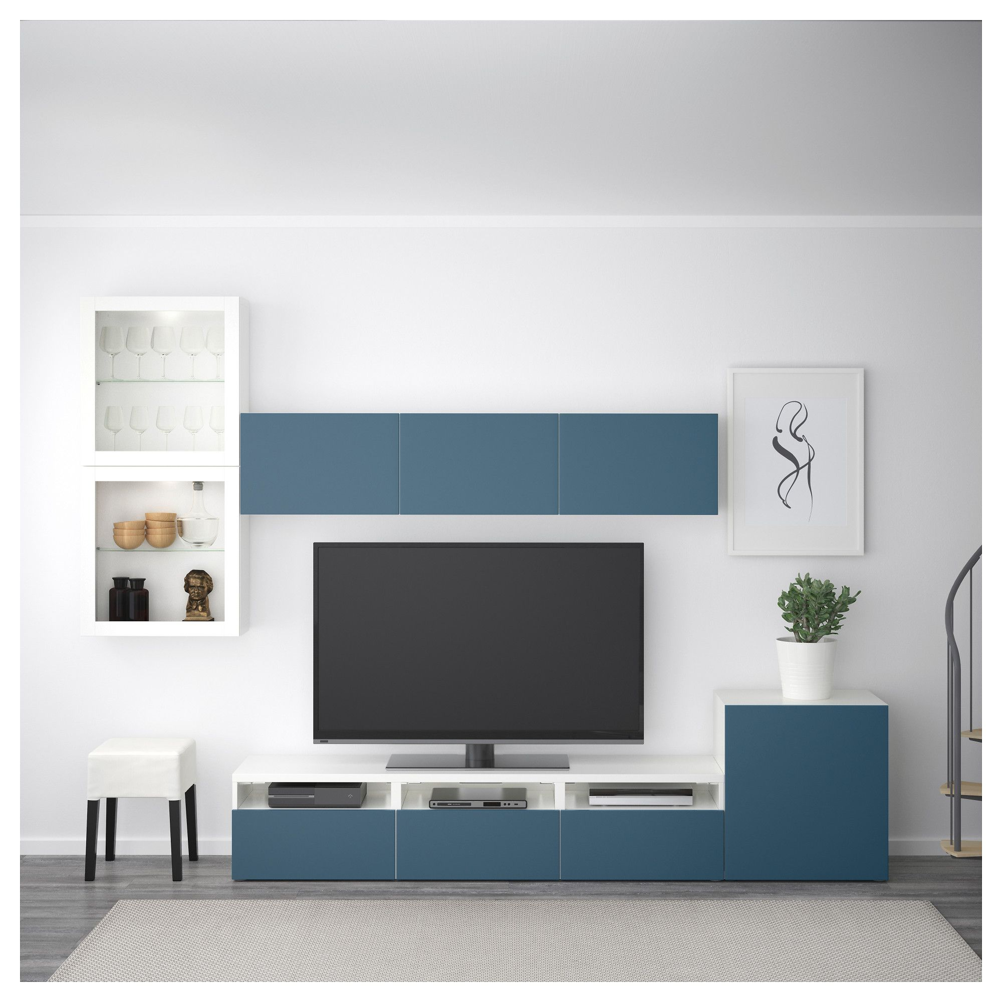Ikea Meuble Bas Tv Tv Storage Combination Glass Doors BestÅ White Valviken Dark Blue