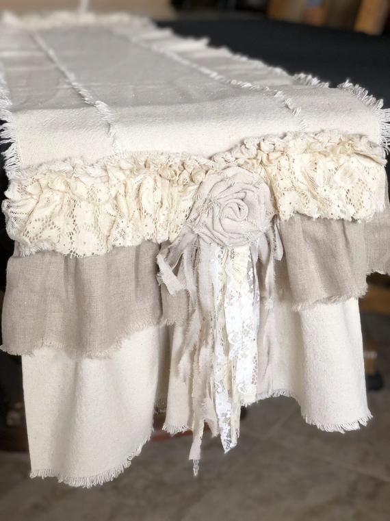 manique Crochet Avec Roses Crème Blanc Vintage Shabby Chic Antique