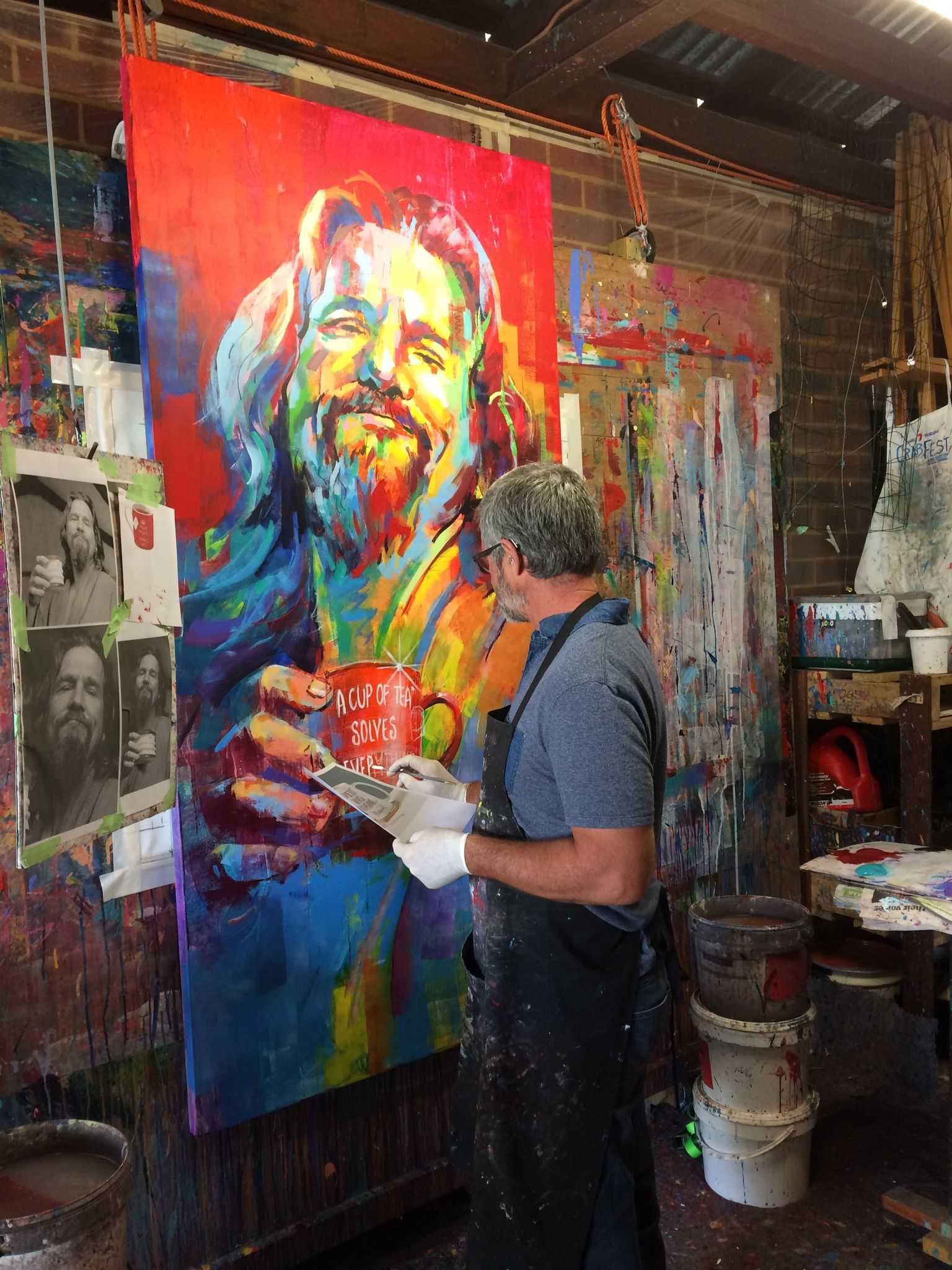 Artist Easel Australia Artist Jos Coufreur At Work On The Dude Big Lebowski For House