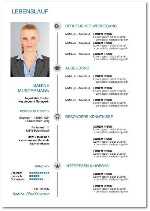 Bewerbungsvorlagen: Über 40 Gratis-Muster | Pinterest | Lebenslauf ...