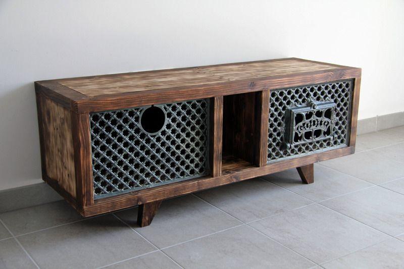 meuble tvtable basse ganesh en bois de palette recycl brut meubles et rangements - Table Basse Et Meuble Tv Bois