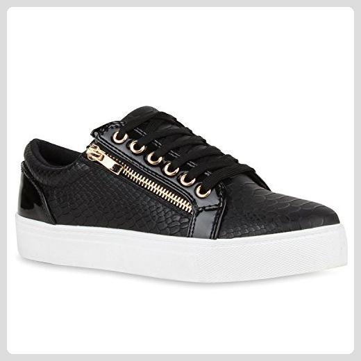 Damen Lack Sneakers Low Kroko Turn Schnürer Schuhe 113163 ...