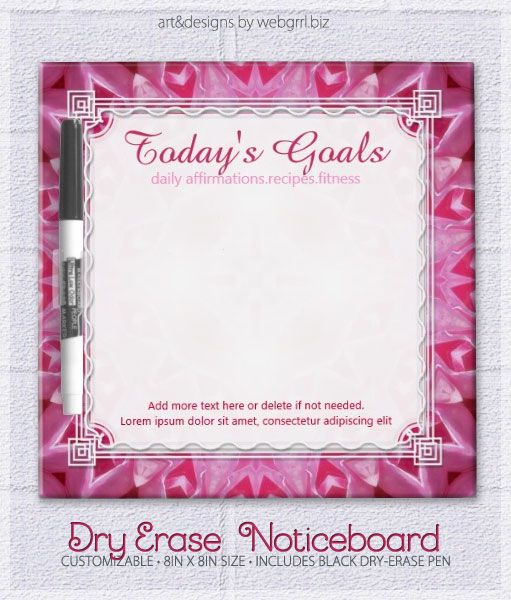 Girl Pink Energize Today\'s Goals To Do Whiteboard Dry-Erase Board by ...
