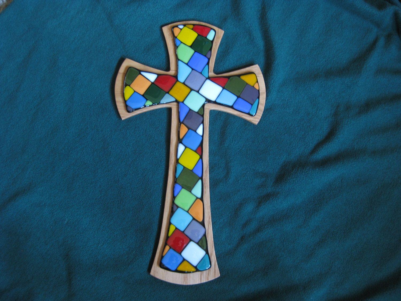 Fused Glass Celtic Cross by CreativeGlassByErnie on Etsy