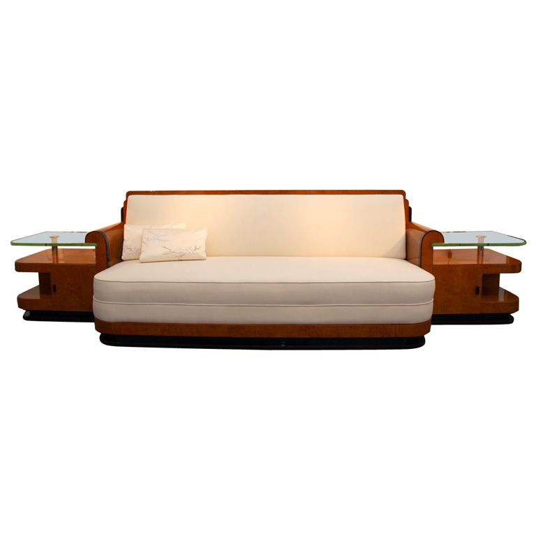 Art Deco Sofa With Built In Side Tables By Jules Cayette 1stdibs