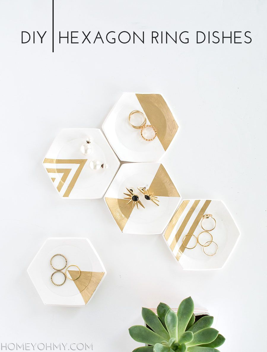 How to make clay hexagon ring dishes with gold leaf designs.