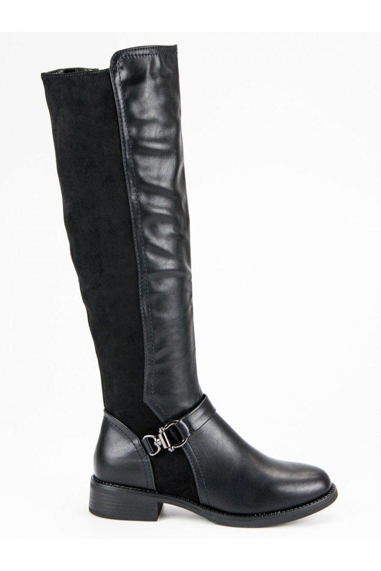 Štýlové čierne čižmy oficierky Super Mode Fashion Styles 384c0503055