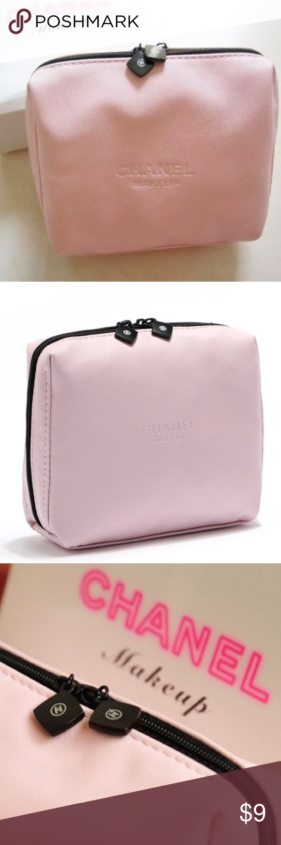 NEW CHANEL Pink Logo VIP Leather Makeup Case Bag LAST ONE