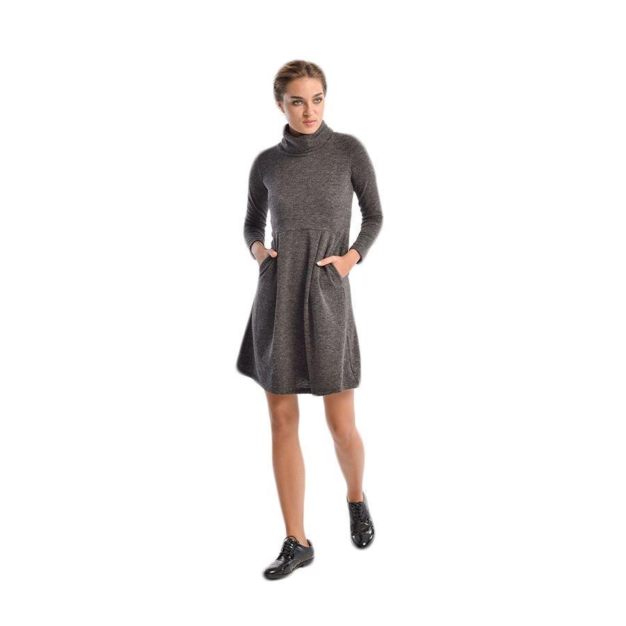 VENER Γκρι μακρυμάνικο μάλλινο φόρεμα d33ab22d01e