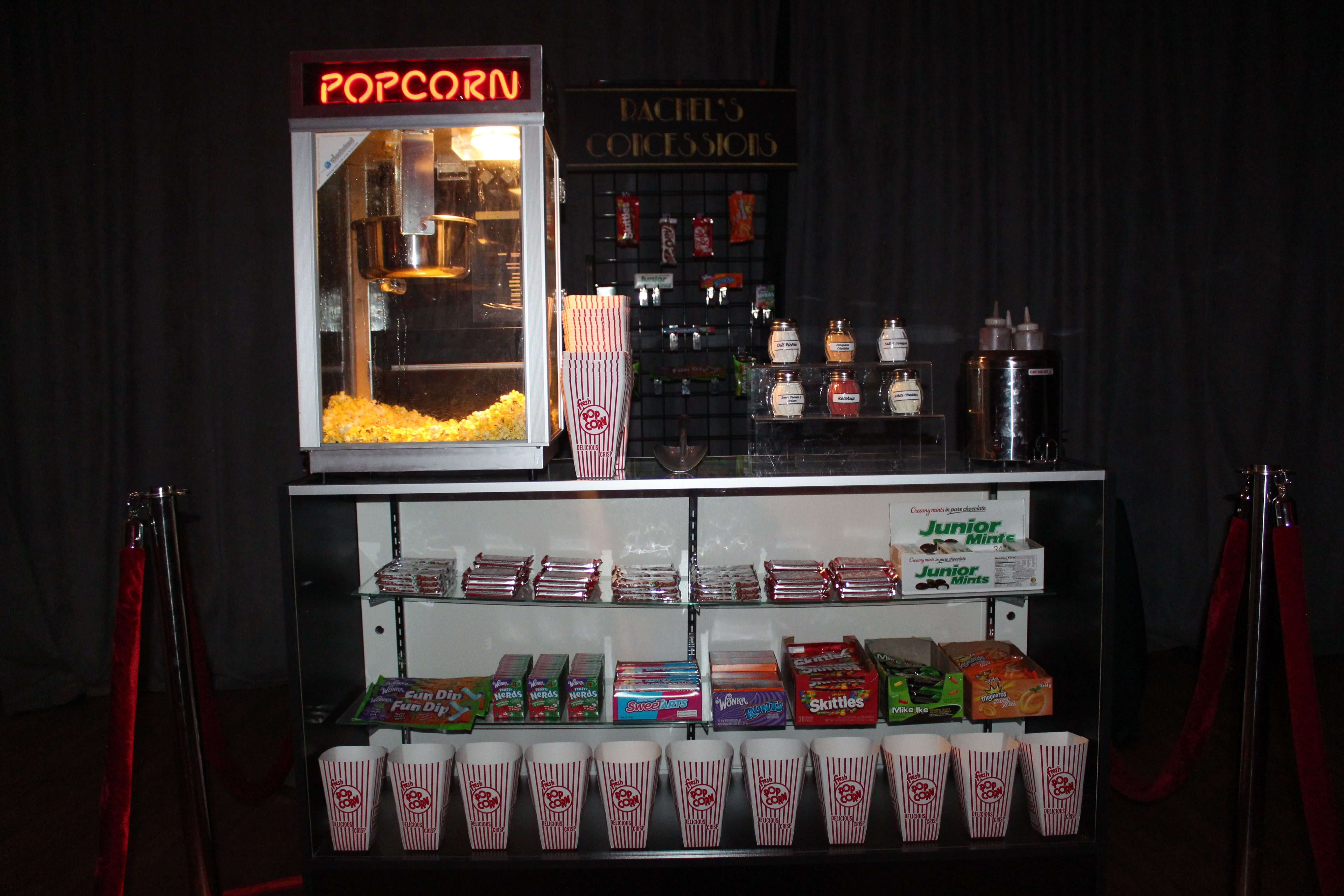 Have A Hollywood Themed Party Coming Up Pop S Concession Stand Rental Includes Retail Counter Wit Party Rentals Hollywood Party Theme Popcorn Machine Rental