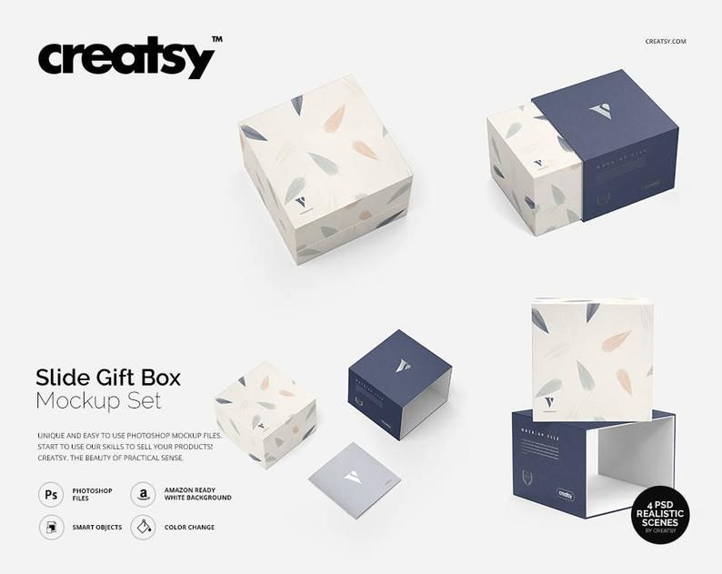 Download Slide Gift Box Mockup Set Personalized Box Slide Box Etsy Box Mockup Free Packaging Mockup Slide Box