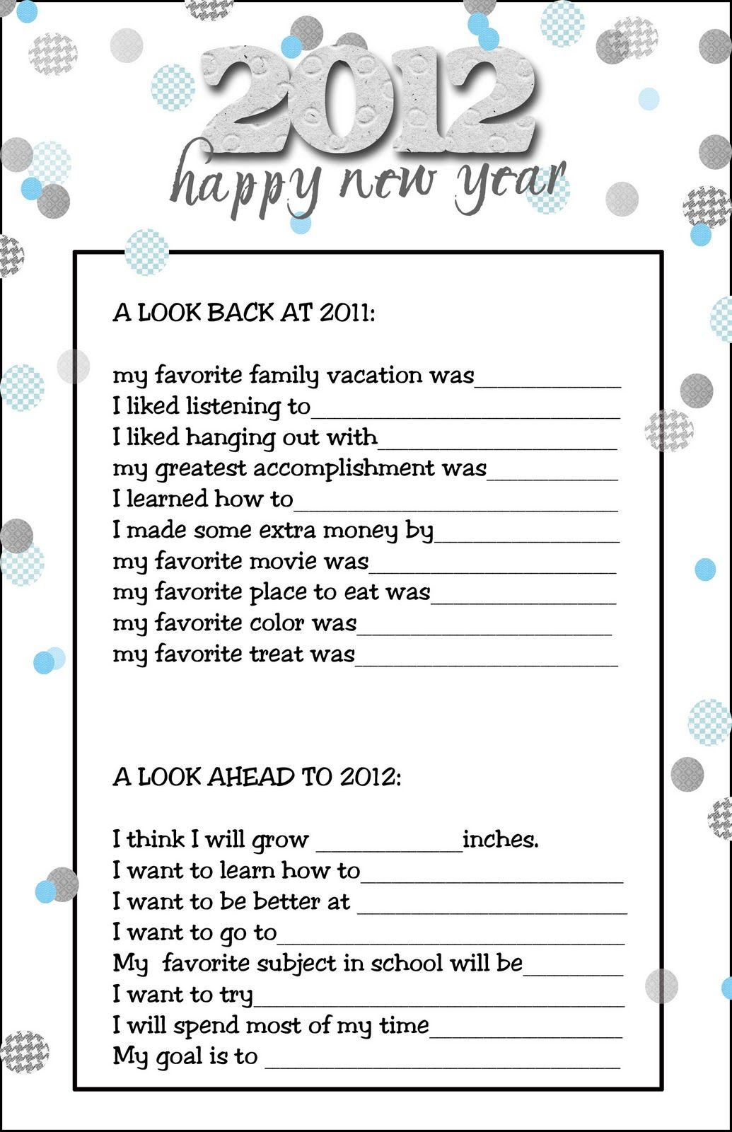 News Years Questions For Kids