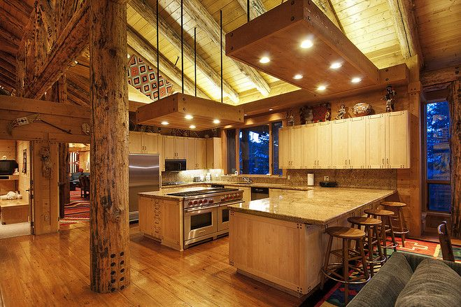I think this comes really close to my dream cabin kitchen.