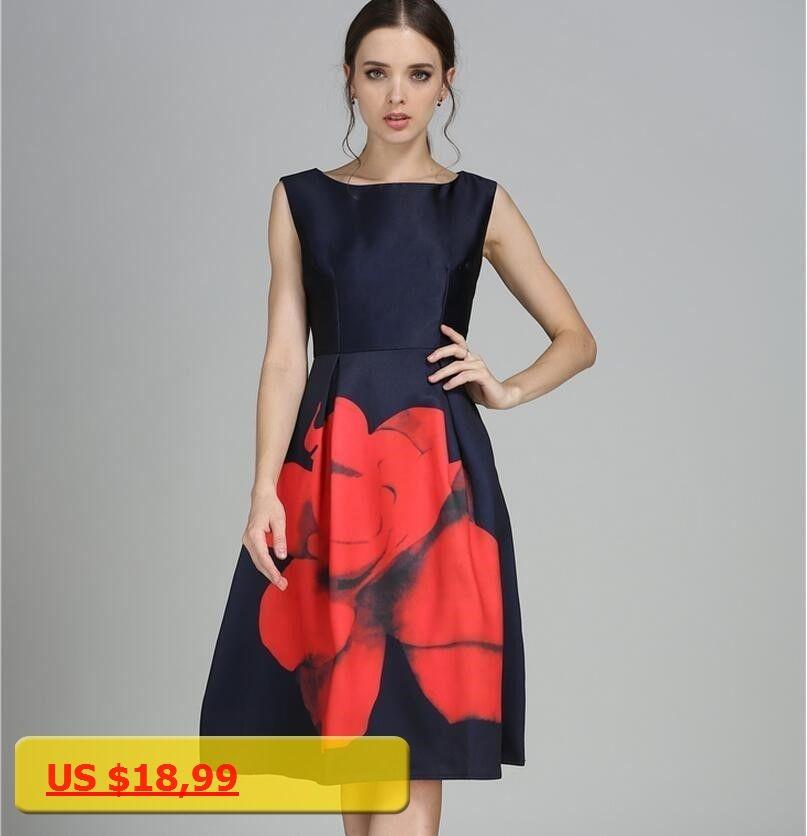 2018 Summer New Women Dress Fashion Slim Sleeveless Plus Size Print Sexy A  Word Blue Dress eb5edf266